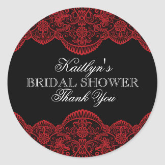 Sheer Red Lace Bridal Shower Classic Round Sticker