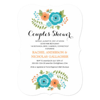 Sheer Summer Flowers   Couples Shower Card