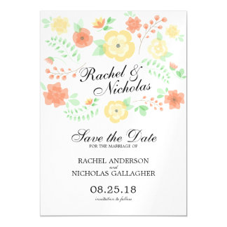 Sheer Summer Flowers   Save the Date Magnetic Card