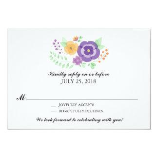 Sheer Summer Flowers   Wedding RSVP Card