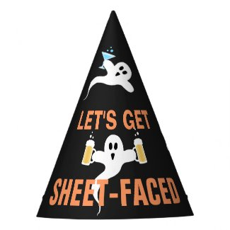 Sheet-Faced Funny Ghost Drinking Pun Halloween Party Hat