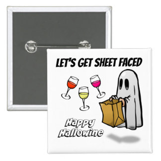 Sheet Faced Ghost Happy Hallowine Button