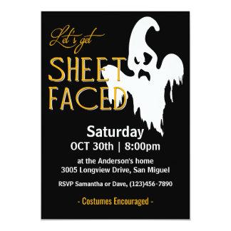 Sheet Faced Halloween Party Card