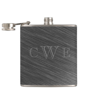 Sheet Metal Engraved Look Monogrammed Initial Hip Flask