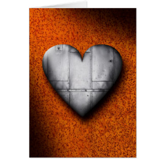 Sheet Metal Heart on Rust Background Greeting Card