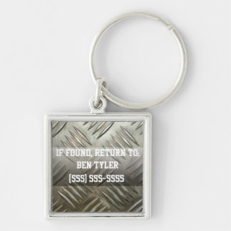 Sheet Metal Lost and Found Keychain Silver-Colored Square Keychain