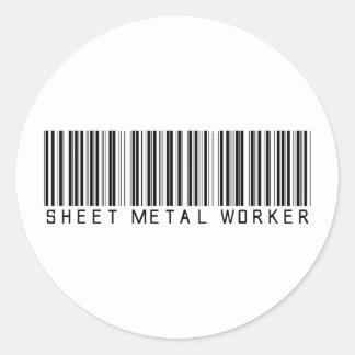 Sheet Metal Worker Bar Code Classic Round Sticker