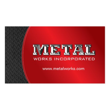 Red and Black Sheet Metal Worker Construction Business Cards Template