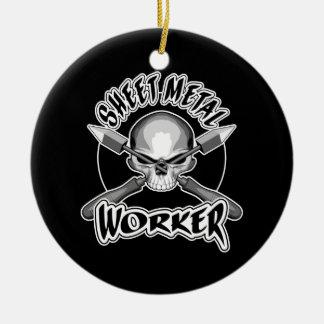 Sheet Metal Worker Logo Ceramic Ornament