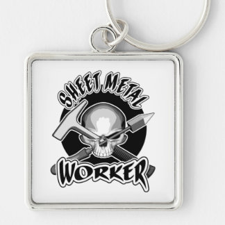 Sheet Metal Worker Skull Silver-Colored Square Keychain