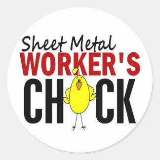 Sheet Metal Worker's Chick Classic Round Sticker
