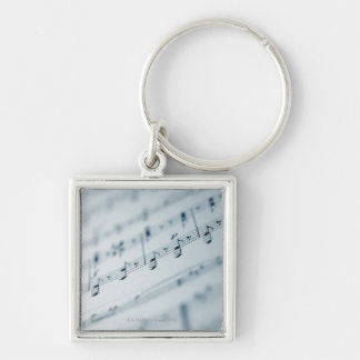 Sheet Music 10 Silver-Colored Square Keychain