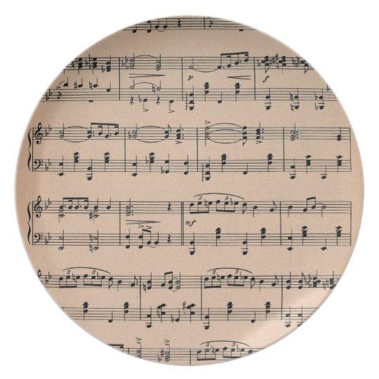 Sheet Music 6 Dinner Plate