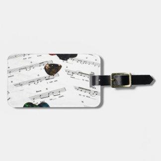 Sheet Music And Guitar Picks Luggage Tag