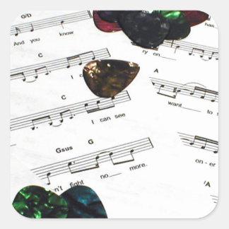 Sheet Music And Guitar Picks Square Sticker