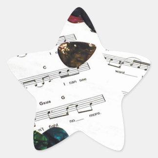 Sheet Music And Guitar Picks Star Sticker