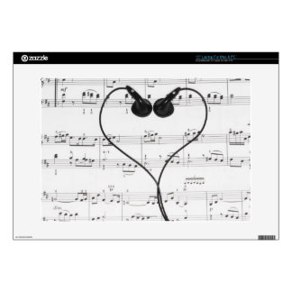 "Sheet Music and Headphones 15"" Laptop Skins"