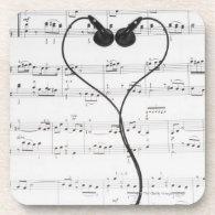 Sheet Music and Headphones Coasters