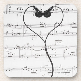 Sheet Music and Headphones Coasters