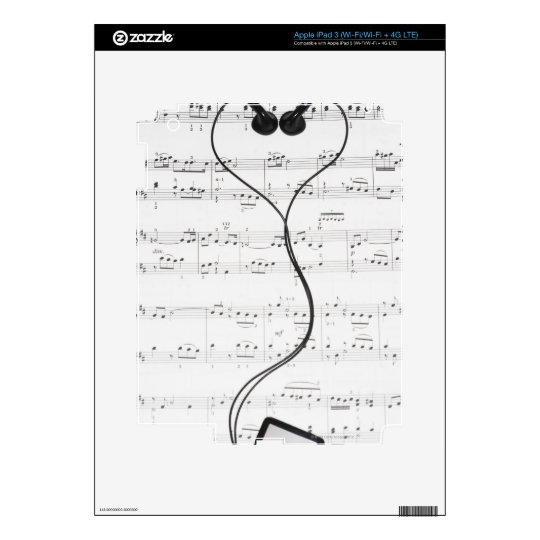 Sheet Music and Headphones iPad 3 Decals