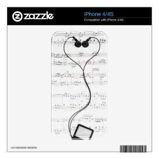 Sheet Music and Headphones iPhone 4S Decal