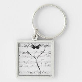 Sheet Music and Headphones Key Chain