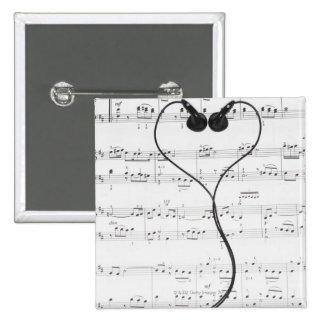 Sheet Music and Headphones Pinback Button