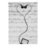 Sheet Music and Headphones Posters
