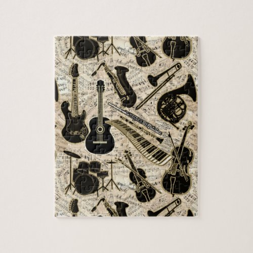 Sheet Music and Instruments BlackGold ID481 Jigsaw Puzzle