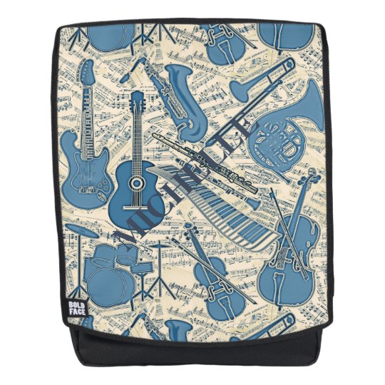 82a6438ec8dc Sheet Music and Instruments Blue Ivory ID481 Backpack