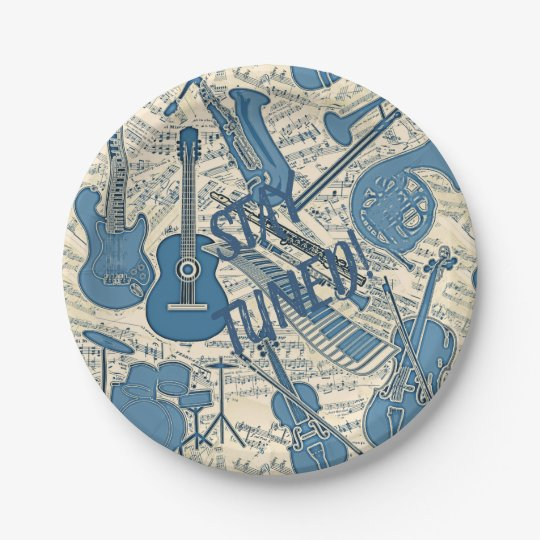 Sheet Music and Instruments Blue/Ivory ID481 Paper Plate  sc 1 st  Zazzle & Sheet Music and Instruments Blue/Ivory ID481 Paper Plate | Zazzle.com