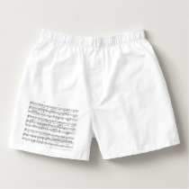 Sheet Music Black and White Pattern Boxers