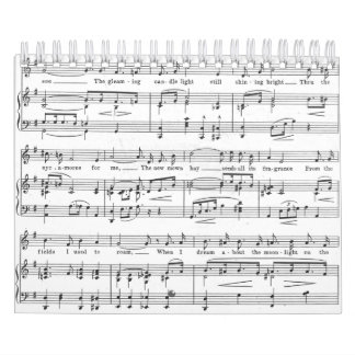 Sheet Music Black and White Pattern Calendar