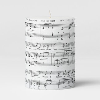 Sheet Music Black And White Pattern Pillar Candle Gallery