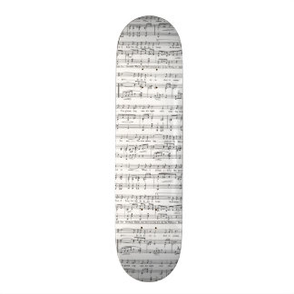 Sheet Music Black and White Pattern Skateboard