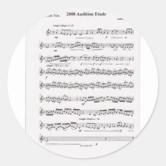 Sheet music classic round sticker