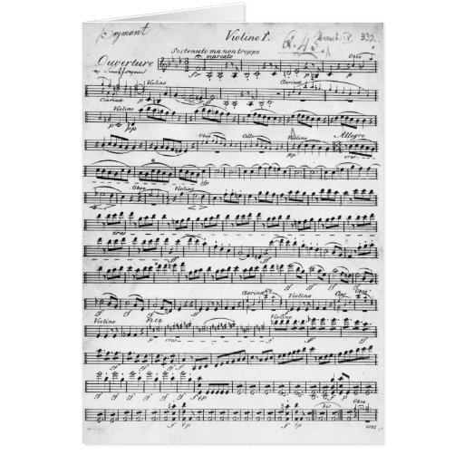 Sheet Music for the Overture to 'Egmont' Card