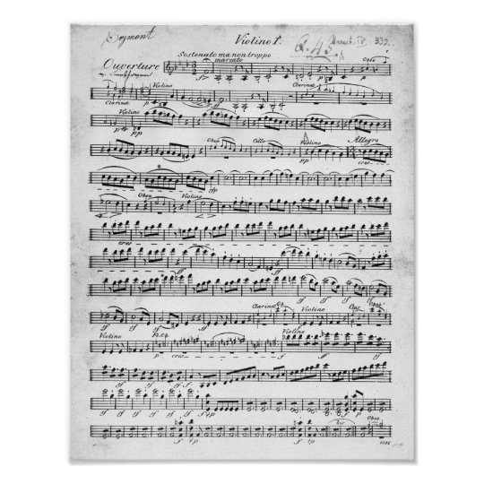 Sheet Music for the Overture to 'Egmont' Poster