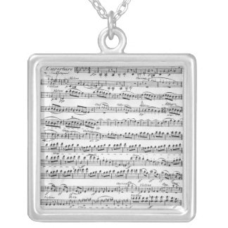 Sheet Music for the Overture to 'Egmont' Silver Plated Necklace
