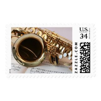 Sheet Music Golden Saxophone Stamp