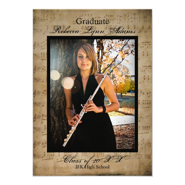 Sheet Music Graduation Announcement w/ Photos (back side)