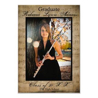 Sheet Music Graduation Announcement w/Photos 3x5