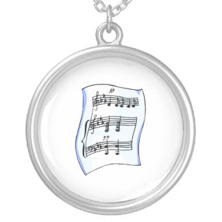 Sheet music graphic image, blue version round pendant necklace