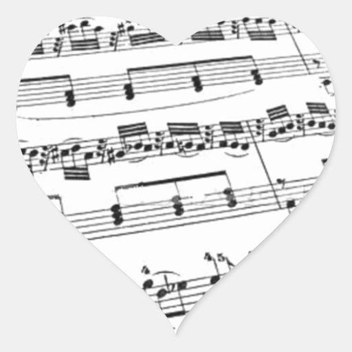 Sheet Music Heart Stickers
