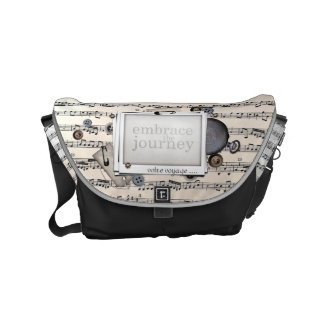 Sheet Music in Black and White Embrace the Journey Small Messenger Bag