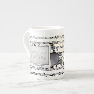 Sheet Music in Black and White Embrace the Journey Tea Cup