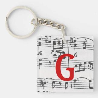 Sheet Music Double-Sided Square Acrylic Keychain