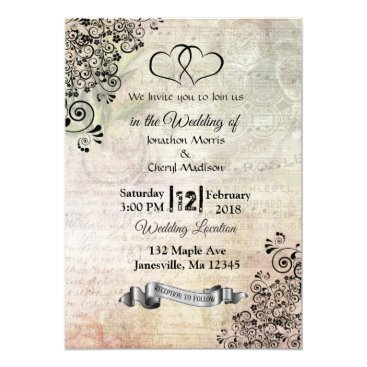 Wedding Themed Sheet Music Notes Hearts Wedding Invitations