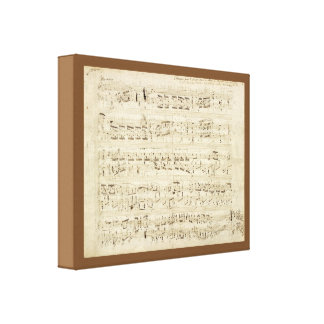 Sheet Music on Parchment Handwritten in Ink Canvas Print