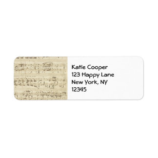 Sheet Music on Parchment Handwritten in Ink Return Address Label